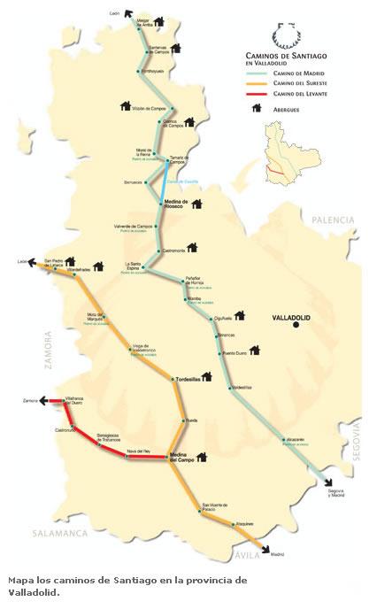 Mapa de los Caminos de Santiago en la provincia de Valladolid